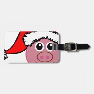christmas pig luggage tag