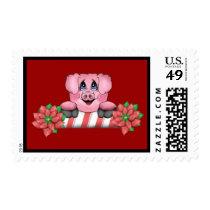 Christmas Pig Postage Stamp