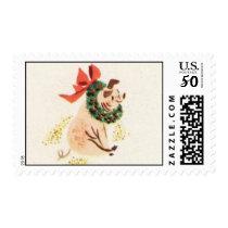 Christmas pig postage stamps