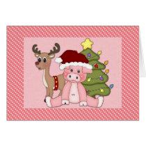 Christmas Pig, Reindeer and Tree Card