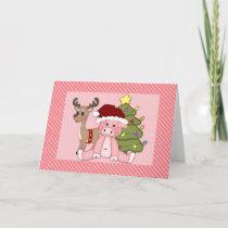 Christmas Pig, Reindeer and Tree Holiday Card