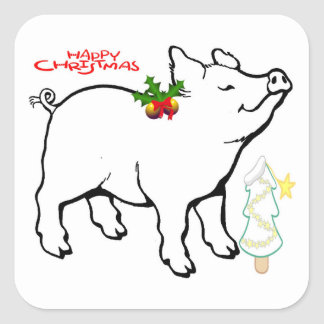 "**CHRISTMAS PIG** STICKERS SAYS ""MERRY CHRISTMAS"
