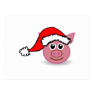 Christmas Pig Wearing Santa Hat Postcards