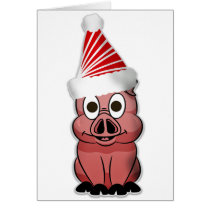 Christmas Pig with santa hat, fun farm animals Card