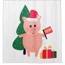 Christmas, pig year shower curtain