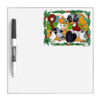 Christmas Pigeons Dry-Erase Board