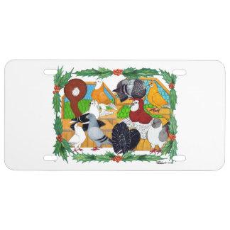 Christmas Pigeons License Plate