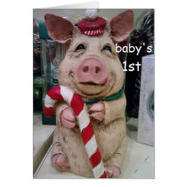 CHRISTMAS PIGGY 1st CHRISTMAS WISHES Card