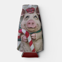 CHRISTMAS PIGGY BOTTLE COOLER/COZY INSULATE BOTTLE COOLER