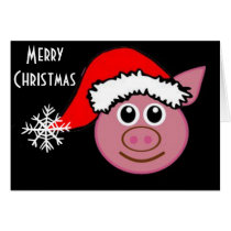 "CHRISTMAS PIGGY EMOGI SAYS ""MERRY CHRISTMAS"" CARD"