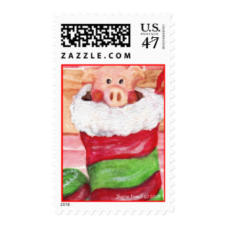 Christmas Piggy in a Stocking Stamp