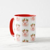 Christmas Piglet Pink Pink Holiday Farm Country Mug