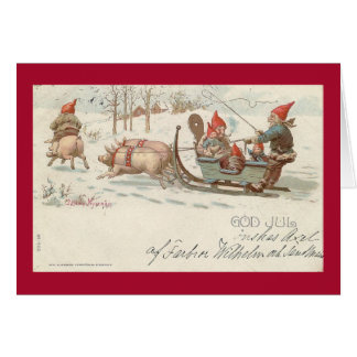 Christmas pigs greeting card