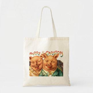 Christmas Pigs Cute Couple Gift Wrap Tote Bag