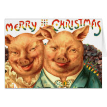 Christmas Pigs Cute Piggy Couple From Us Add Text Card