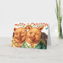 Christmas Pigs Cute Piggy Couple From Us Add Text Holiday Card