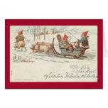Christmas pigs greeting cards