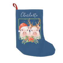 Christmas Pigs Personalized Santa Reindeer Small Christmas Stocking