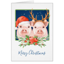 Christmas Pigs Santa and Reindeer Couple Card