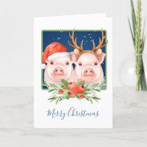 Christmas Pigs Santa and Reindeer Couple Holiday Card