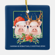 Christmas Pigs Santa Reindeer Couple Personalized Ceramic Ornament