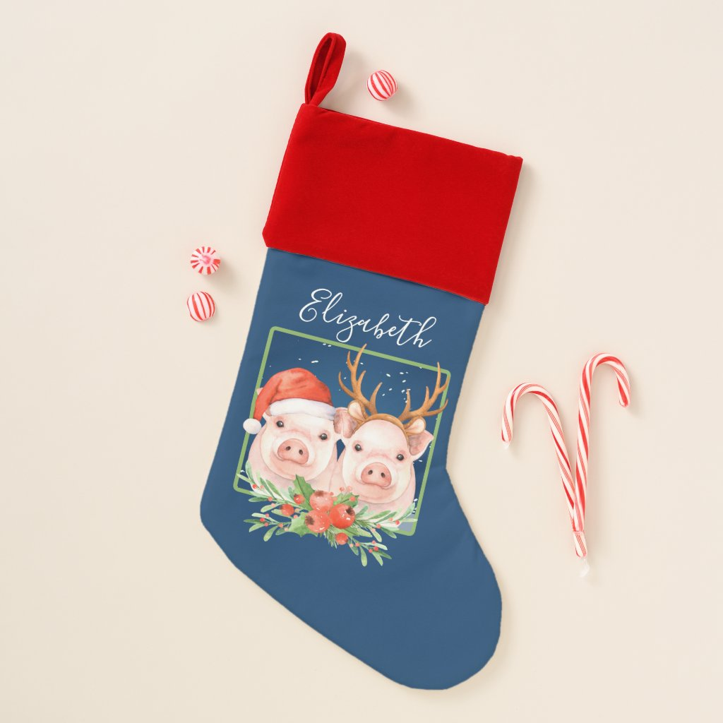 Christmas Pigs Santa Reindeer Personalized Christmas Stocking