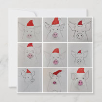 Christmas pigs thank you card