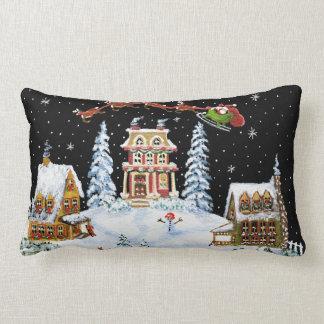 Christmas, pillow,Santa,Claus,snowman,bunny's Lumbar Pillow
