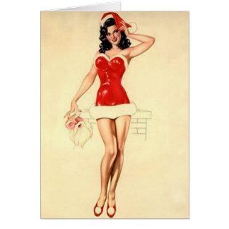 Christmas Pin-Up Girl and Classic Santa Card