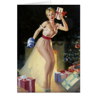 Christmas Pin-Up Girl checking out the Gifts Card