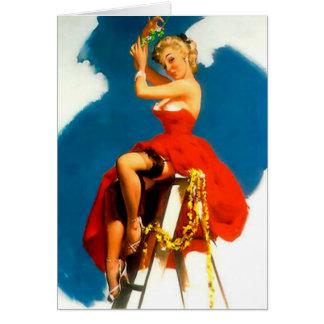 Christmas Pin-Up Girl Missile Toe Card
