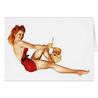 Christmas Pin-Up Girl with Santa Mask Card