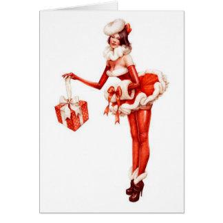 Christmas Pin-Up Santa Girl Card