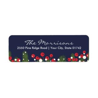 Christmas Pine & Berry Custom Blue Return Address Label