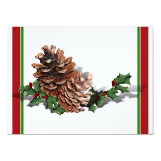 "Christmas Pine Cones 6.5"" X 8.75"" Invitation Card"