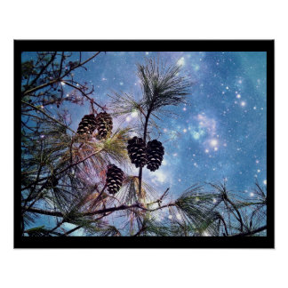 Christmas Pine cones under a starry night sky Poster