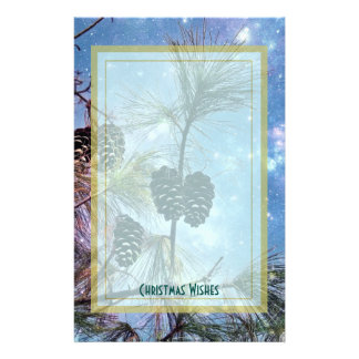 Christmas Pine cones under a starry night sky Stationery
