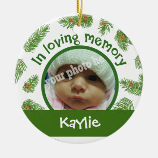 Christmas Pine Custom Picture Baby Memorial Double-Sided Ceramic Round Christmas Ornament