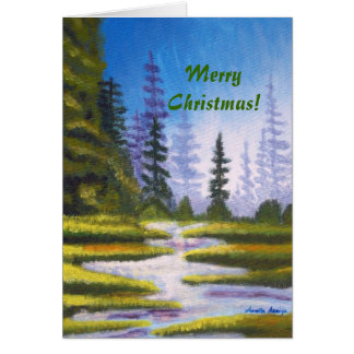 Christmas Pine Forest Painting Greeting Card