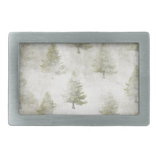 Christmas Pine tree Grunge Snow background Rectangular Belt Buckle