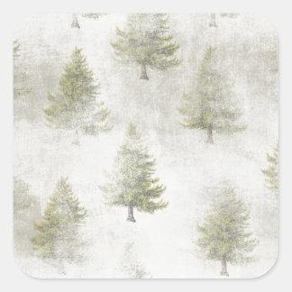 Christmas Pine tree Grunge Snow background Square Sticker