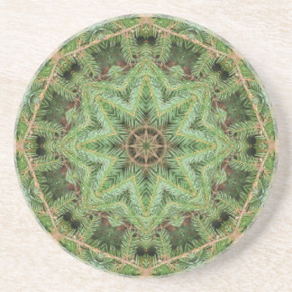 Christmas Pine Wreath Mandala Beverage Coaster