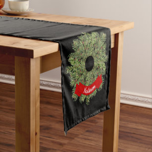 Christmas Garland Table Runners Zazzle