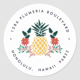 Christmas Pineapple | Holiday Return Address Classic Round Sticker