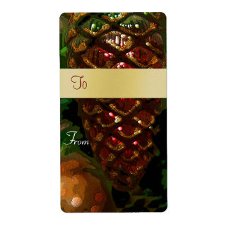 Christmas Pinecone Gift Tag Label