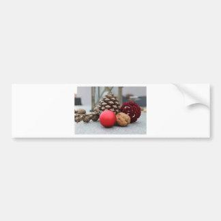 Christmas pinecones and decor bumper sticker