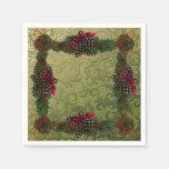 Christmas Pinecones Paper Napkins