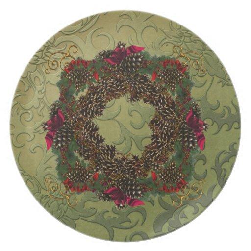 Christmas Pinecones Plate
