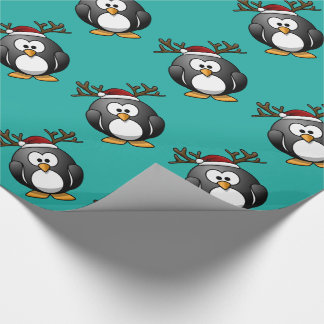 CHRISTMAS PINGUIN + SANTA HAT + REINDEER HORNS WRAPPING PAPER