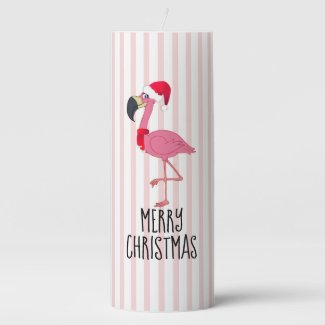 Christmas Pink Flamingo n' Stripes Pillar Candle